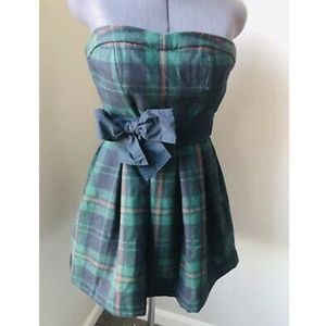 NWT Abercrombie And Fitch Plaid Strapless Dress